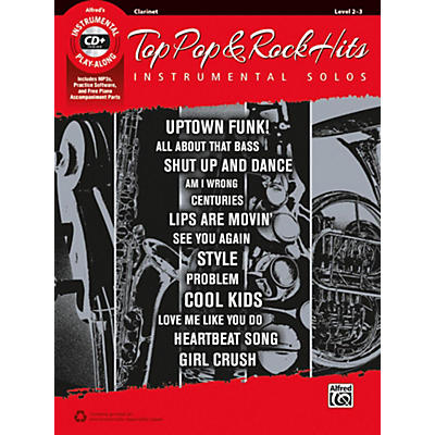 Alfred Top Pop & Rock Hits Instrumental Solos Clarinet Book & CD