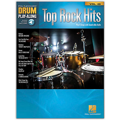 Hal Leonard Top Rock Hits - Drum Play-Along Series Volume 49 Book/Online Audio