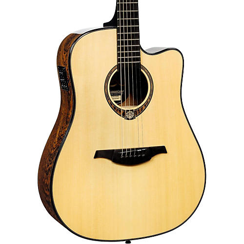 lag guitars tramontane limited edition tse701dce snakewood dreadnought cutaway acoustic electric. Black Bedroom Furniture Sets. Home Design Ideas