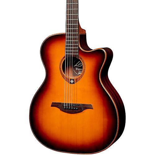 Lag Guitars Tramontane T100ACE Auditorium Cutaway Acoustic-Electric Guitar Brown Sunburst