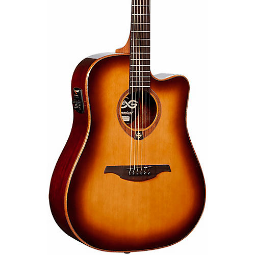 Lag Guitars Tramontane T100DCE Dreadnought Cutaway Acoustic-Electric Guitar Brown Sunburst