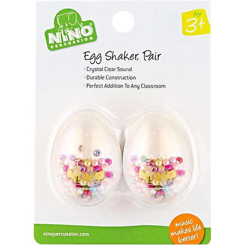 Nino Transparent Plastic Egg Shaker Pair with Multi-Colored Filling