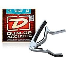 Dunlop Trigger Flat Nickel Capo andPhosphor Bronze Light Acoustic Guitar Strings