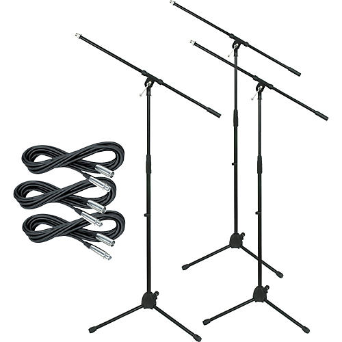 Musician's Gear Tripod Mic Stand with 20-Foot Mic Cable (3-Pack)