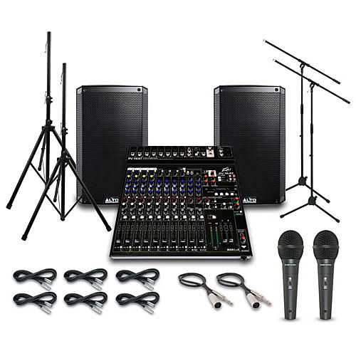 Alto Truesonic TS210 with Peavy PV14AT Mixer PA System