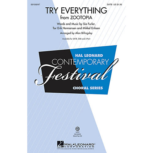 Hal Leonard Try Everything (from Zootopia) SAB by Shakira Arranged by Alan Billingsley
