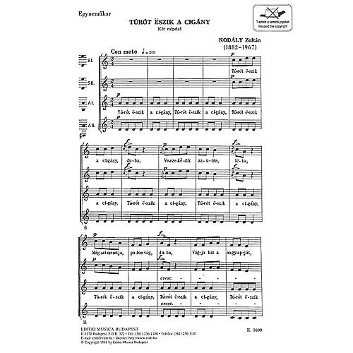 Editio Musica Budapest Turot Eszik A Cigany Composed by Zoltán Kodály