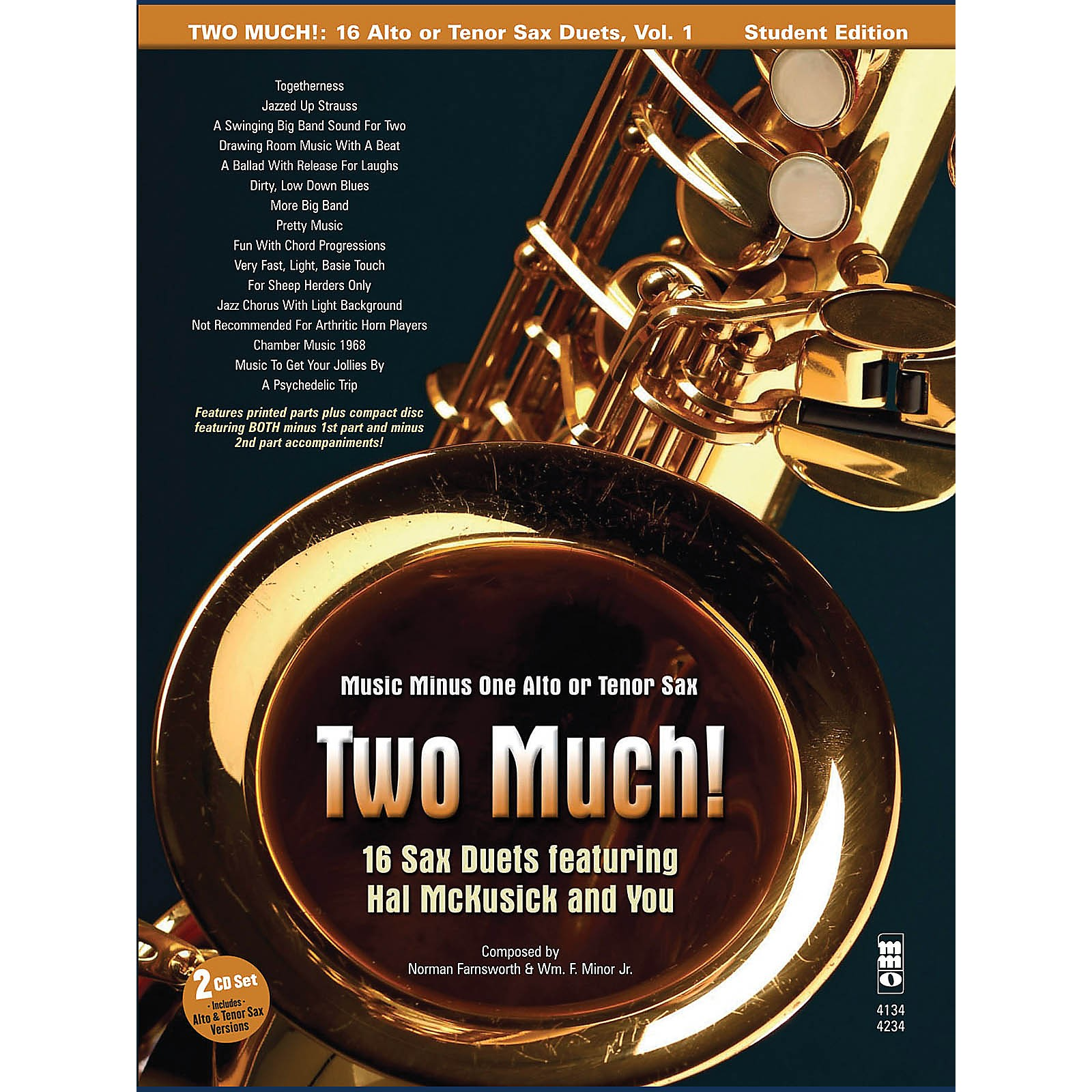 Music Minus One Two Much! 16 Duets for Saxophone Music Minus One Series Book with CD
