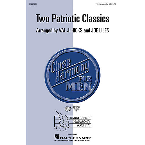 Hal Leonard Two Patriotic Classics (Star-Spangled Banner with America the Beautiful ) TTBB A Cappella by Val Hicks