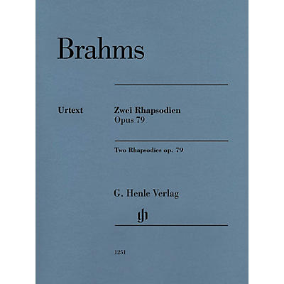 G. Henle Verlag Two Rhapsodies Op. 79 Revised Henle Music Folios Softcover by Johannes Brahms Edited by Katrin Eich