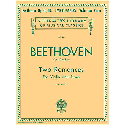 G. Schirmer Two Romances Op 40 and 50 for Violin / Piano By Beethoven