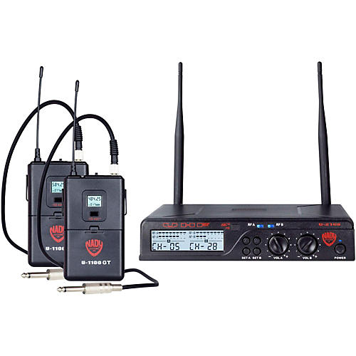 Nady U-2100 GT - Dual Channel UHF Wireless Guitar/Instrument System Condition 1 - Mint Band A and B