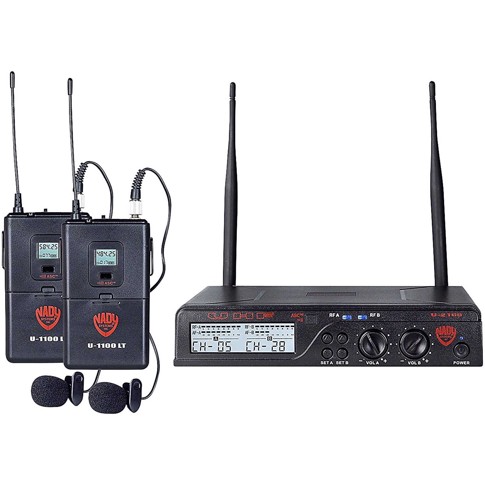 Nady U-2100 LT - Dual Channel UHF Wireless System with Omnidirectional Lavalier/Lapel Microphone