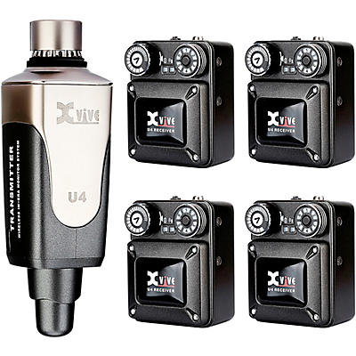 XVive U4R4 In-Ear Monitor Wireless System Transmitter One and Four Receiver