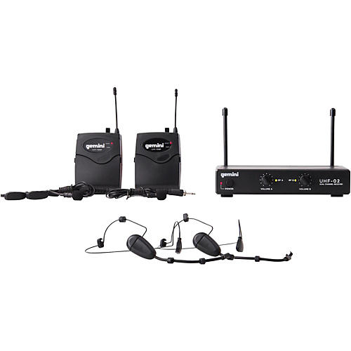 Gemini UHF-02HL 2-Channel Wireless Headset/Lavalier Combo System S34