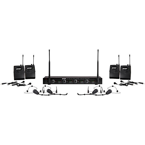 Gemini UHF-04HL 4-Channel Wireless Headset/Lavalier Combo System S1234