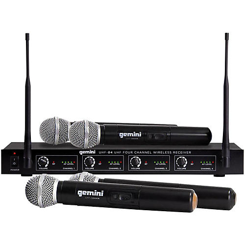 Gemini UHF-04M 4-Channel Wireless Handheld Microphone System Condition 1 - Mint S1234