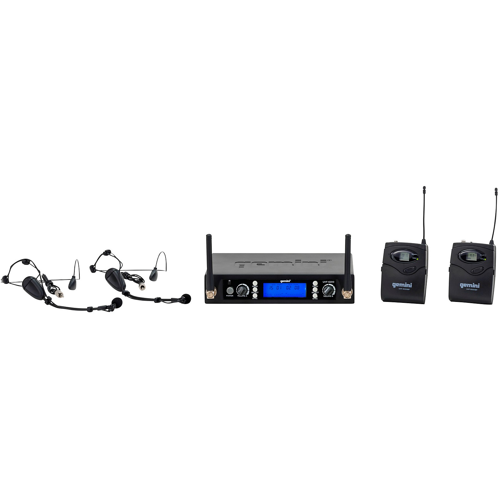 Gemini UHF-6200HL Dual Headset With Detachable Lavalier Wireless System