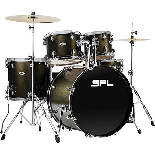 Sound Percussion Labs UNITY II 5-Piece Complete Drum Set With Hardware, Cymbals and Throne Black Onyx Glitter