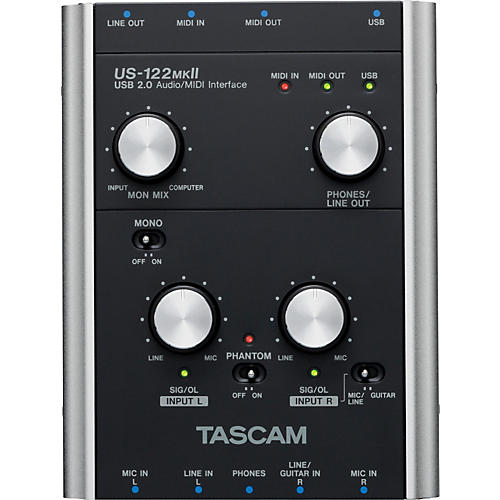 tascam us 122mkii usb 2 0 2 channel audio midi interface musician 39 s friend. Black Bedroom Furniture Sets. Home Design Ideas