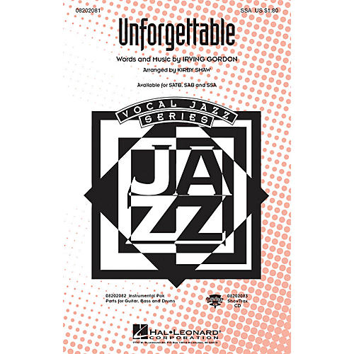 Hal Leonard Unforgettable SSA arranged by Kirby Shaw
