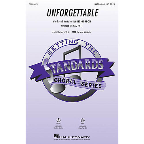 Hal Leonard Unforgettable ShowTrax CD Arranged by Mac Huff