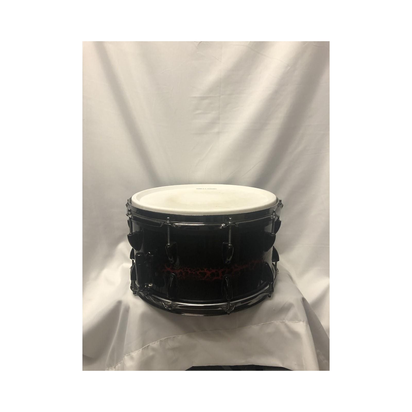 In Store Used Used 2010s MBW CUSTOM DRUM 14X8 SNARE 22 W/ PEARL TRUTRACK ELECTRIC DRUM TRIGGER Drum CRACKLE BLACK & RED