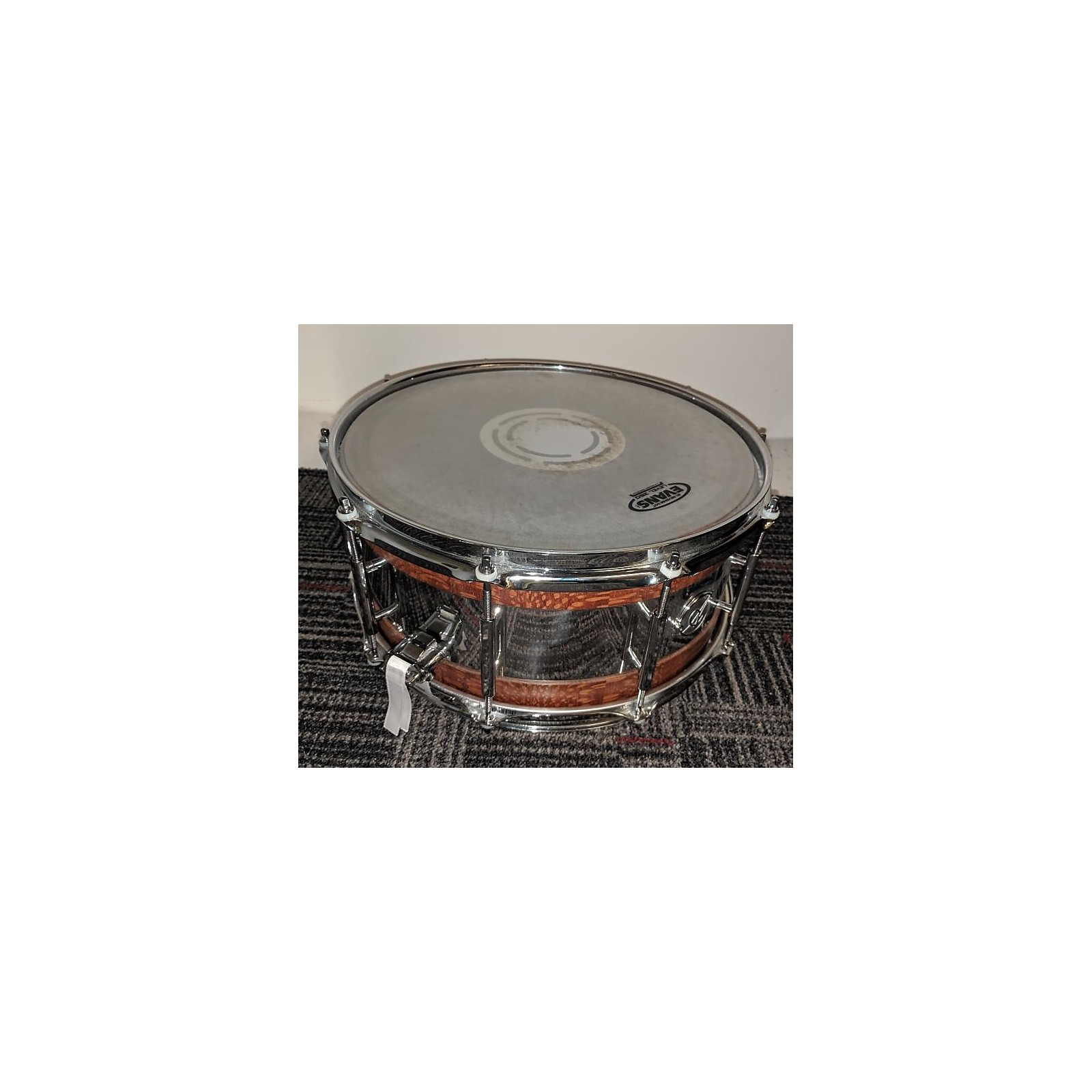 In Store Used Used ACOUTIN 6.5X14 CUSTOM BOUTIQUE SNARE Drum LACEWOOD AND STEEL