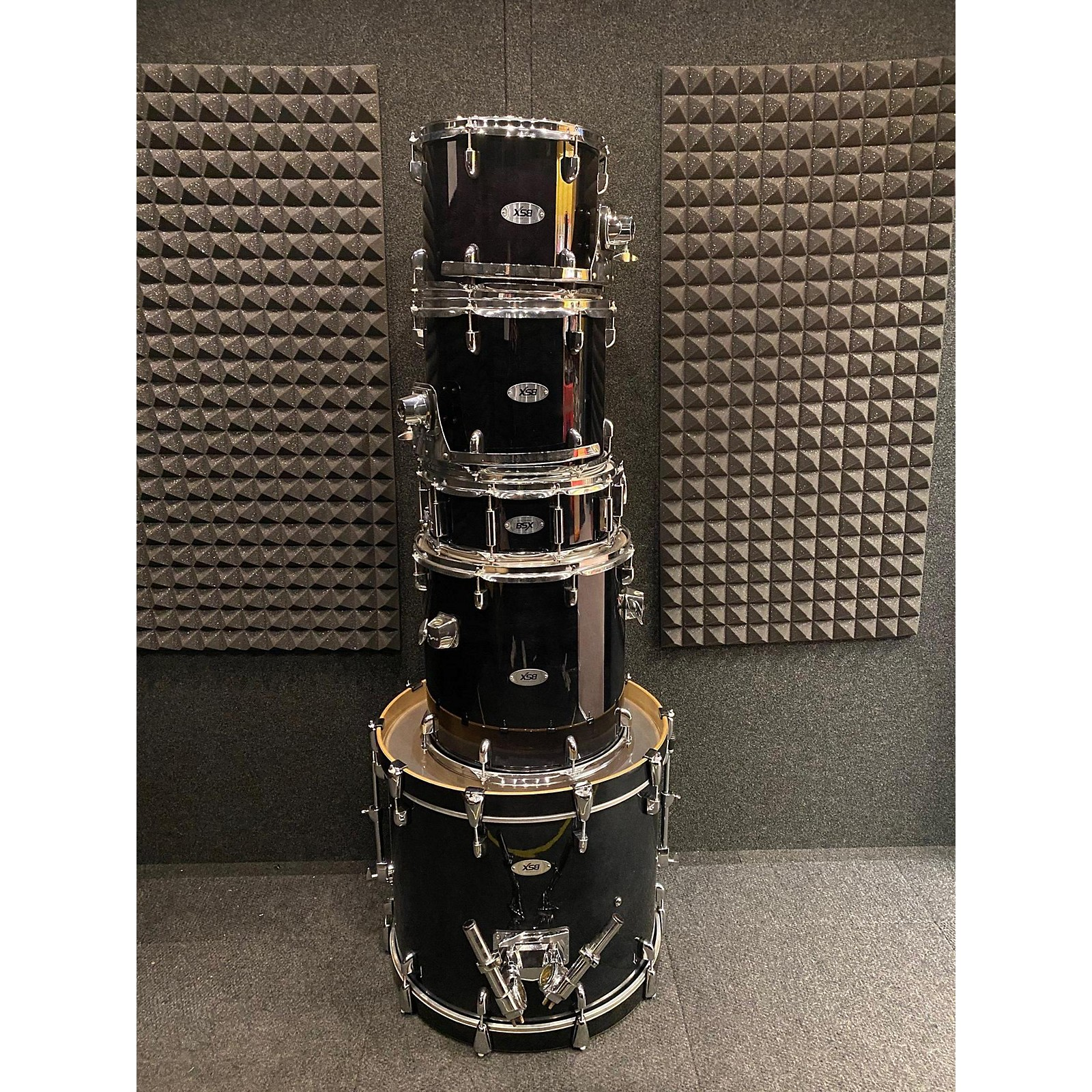 In Store Used Used BSX Drums 5 piece 5 Piece Trans Black Drum Kit