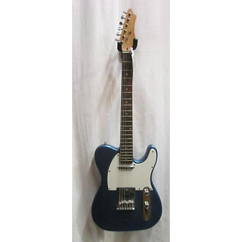 Used Off Brand T-style Blue Sparkle Solid Body Electric Guitar
