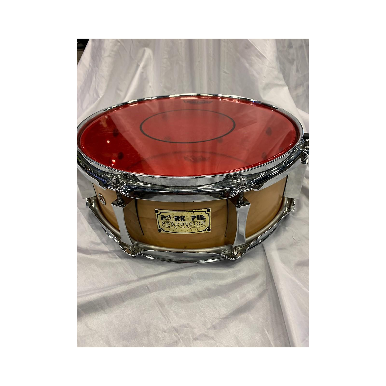 In Store Used Used Pork Pie Percussion 5X13 Little Squealer Snare Drum Drum Natural Maple