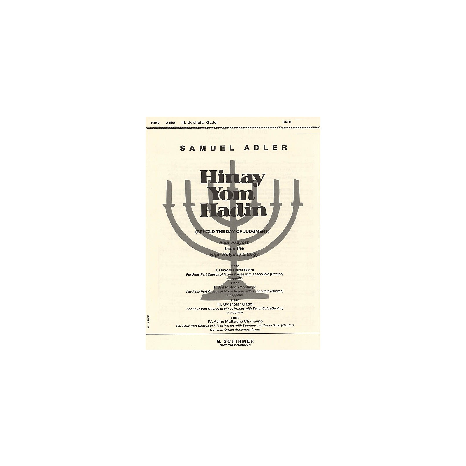 G. Schirmer Uv'shofar Gadol (No. 3 from Four Prayers from the High Holyday Liturgy) SATB composed by Samuel Adler