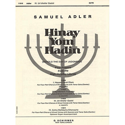 G. Schirmer Uv'shofar Gadol (No. 3 from Four Prayers from the High Holyday Liturgy) SATB composed by Samuel Adler