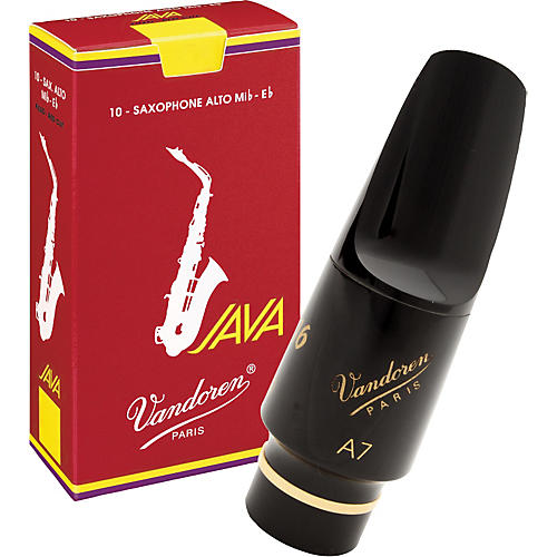Vandoren V16 Hard Rubber Alto Saxophone Mouthpiece with Half-Off Java Red Reeds