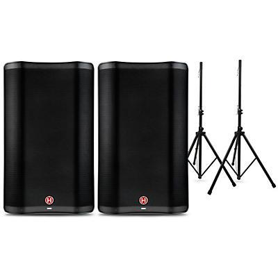 Harbinger VARI 2300 Series Powered Speakers Package with Speaker Stands