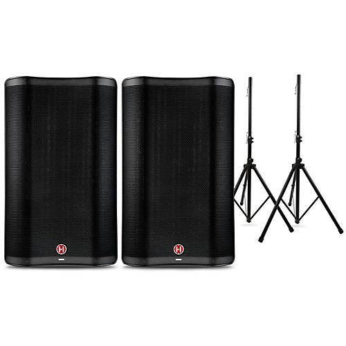 Harbinger VARI 2300 Series Powered Speakers Package with Speaker Stands 15