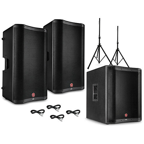 Harbinger VARI 2300 Series Powered Speakers Package with V2318S Subwoofer, Stands and Cables 15