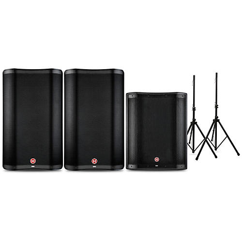 Harbinger VARI 2300 Series Powered Speakers and V2318S Subwoofer Package with Speaker Stands 15