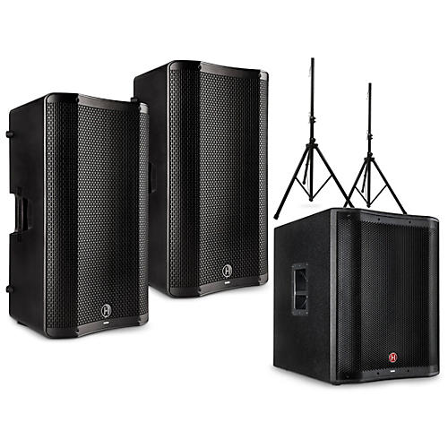 Harbinger VARI 4000 Series Powered Speakers Package with V2318S Subwoofer and Stands 15