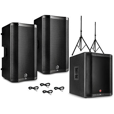Harbinger VARI V4000 Series Powered Speakers Package with V2318S Subwoofer, Stands and Cables