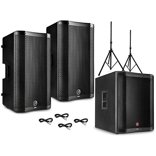 Harbinger VARI V4000 Series Powered Speakers Package with V2318S Subwoofer, Stands and Cables 12