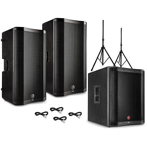 Harbinger VARI V4000 Series Powered Speakers Package with V2318S Subwoofer, Stands and Cables 15