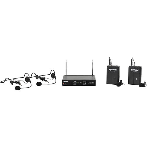 Gemini VHF-02HL Dual Channel VHF Lavalier Wireless Headset System S26