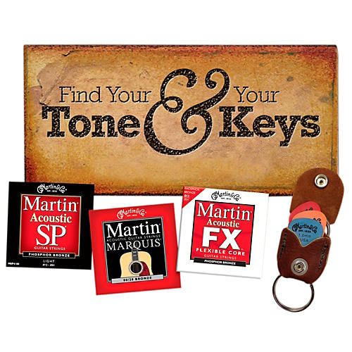 Martin Variety String Pack With Keychain/Pick Holder (3 Sets)