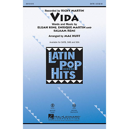Hal Leonard Vida SATB by Ricky Martin arranged by Mac Huff
