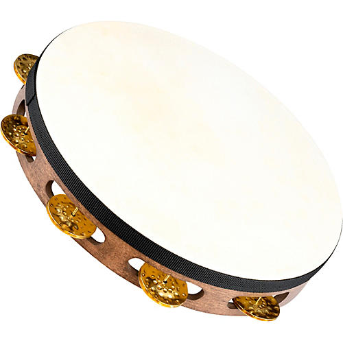 Meinl Vintage Goat-Skin Wood Tambourine One Row Brass Jingles