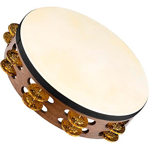 Meinl Vintage Goat-Skin Wood Tambourine Two Rows Brass Jingles