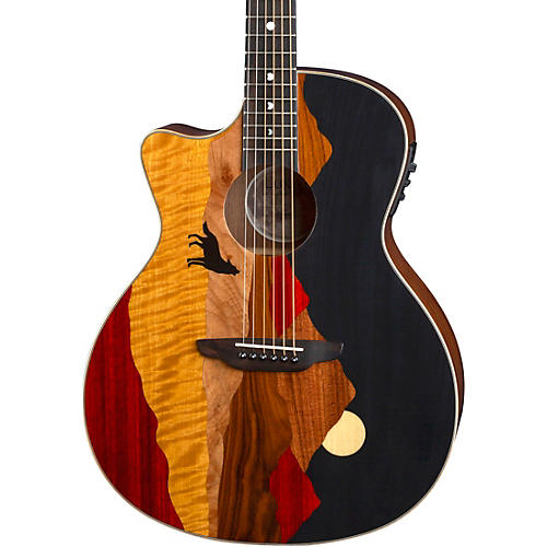 Luna Guitars Vista Wolf Tropical Wood Left-Handed Acoustic-Electric Guitar Gloss Natural