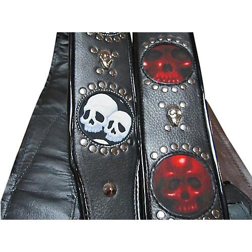 jodi head voodoo infinity white leather with black skulls guitar strap musician 39 s friend. Black Bedroom Furniture Sets. Home Design Ideas