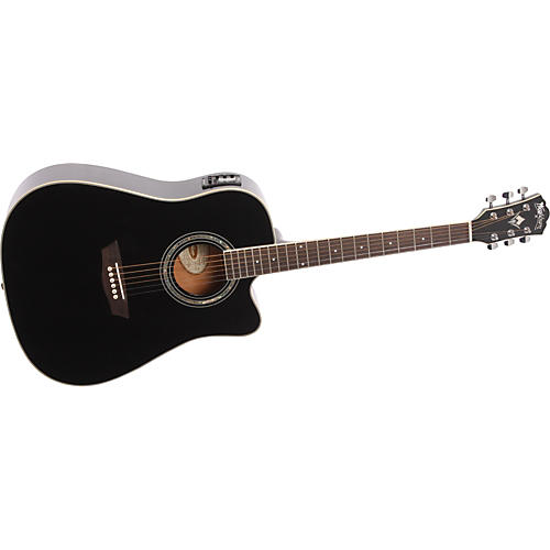 Washburn WD 5SCE Black Knight Series Dreadnought Cutaway Acoustic-Electric Guitar